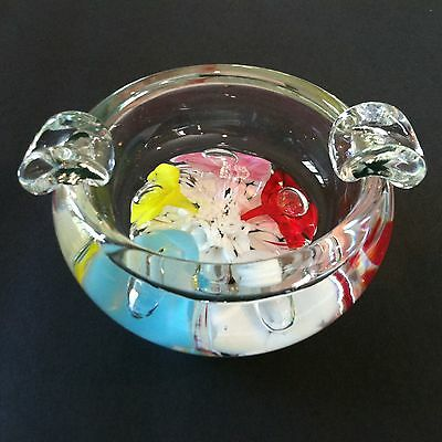 VINTAGE PAPERWEIGHT ASH TRAY/ST. CLAIR-MULTI-COLOR TRUMPET FLOWERS