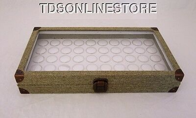Burlap Covered Glass Top Jewelry Display Case With 50 Gem Jars White