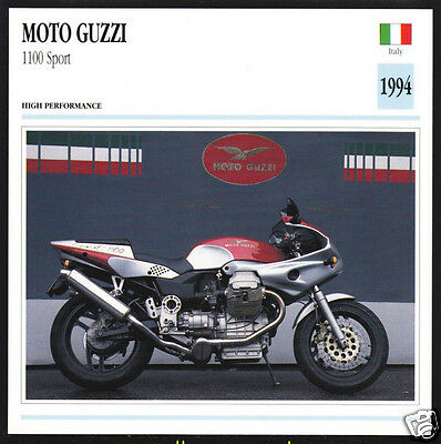 1994 Moto Guzzi 1100 Sport (1064cc) Italy Motorcycle Photo Spec Sheet Info Card
