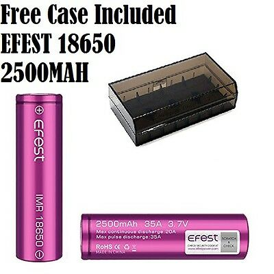 Genuine Efest 18650 Rechargeable Battery Flat Top 2500mAh For Mods Vamo iTaste