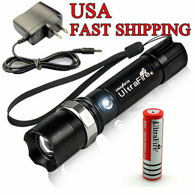 Power Q5 Zoom CREE Tactical Led Rechargeable Flashlight 18650 Battery+Charger !