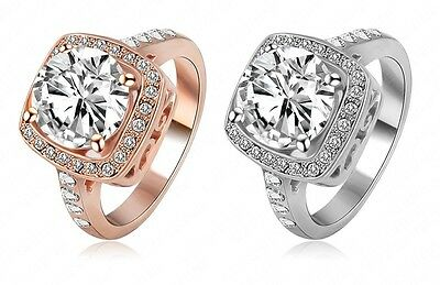 18K Rose Gold/Platinum Plated round Cubic Zirconia Engagement Finger Rings