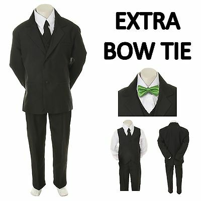 New Baby Toddler Boy Black Formal Wedding Party Suit Tuxedo + Lime Bow Tie S-4T