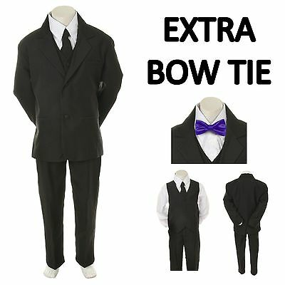 New Baby Toddler Boy Black Formal Wedding Party Suit Tuxedo+ Purple Bow Tie S-4T