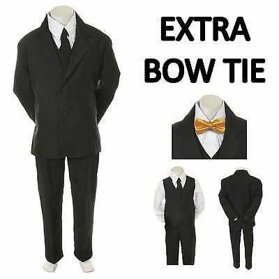 Baby Toddler Boy Black Formal Wedding Party Suit Tuxedo+ Yellow Bow Tie S-4T