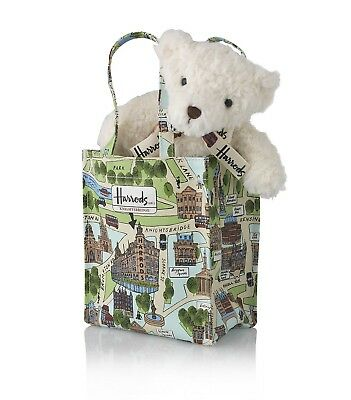 Discontinued HARRODS Knightsbridge Map Bear in Bag ~ Limited Edition