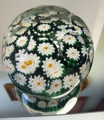 Thousand Eye Millefiori Glass Paperweight Vtg Faceted Cut Cane Art Murano Italy