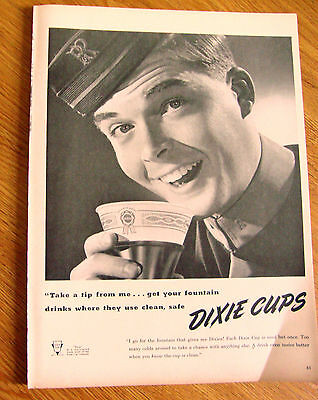 1948 Dixie Cup Ad   Take a Tip from Me Get Your Fountain Drinks