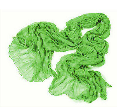 Womens Pure Candy Long Crinkle Scarf Wrap Voile Wrap Stole Shawl Fruit Green