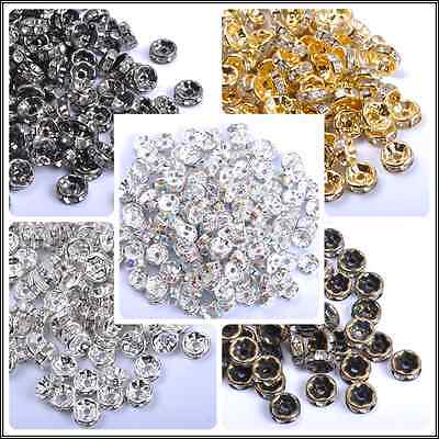 GOLD & SILVER & BRONZE & BLACK, Czech Crystal Rhinestone Rondelle Spacer Beads