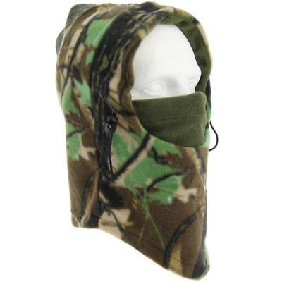 Fleeced Camo Snood With Face Guard Adjustable Neck Cord Hunting Hat Fishing