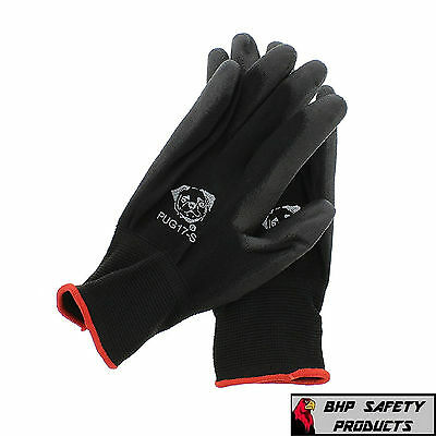 Global Glove Pug17 Gloves Black Nylon, Black Polyurethane Coated Small 12 Pair