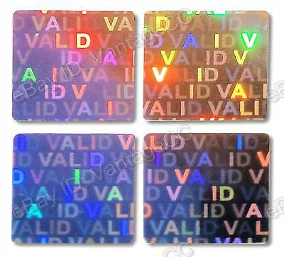"""VALID"" Hologram Stickers Labels, UNNUMBERED 15mm Square Warranty, Silver, VOID"