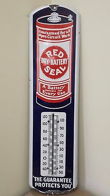 VINTAGE RED SEAL DRY BATTERY PORCELAIN THERMOMETER 23-K