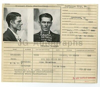 Police Booking Sheet - Missouri State Penitentiary, 1946
