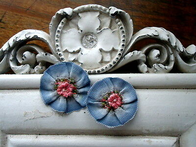 2  ELEGANT FRENCH BLUE SILK OMBRE FRENCH RIBBONWORK FLOWERS