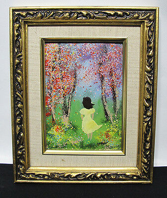 Mid Century Mod Louis Cardin SIGNED Enamel on Copper Painting Girl & Flowers yqz
