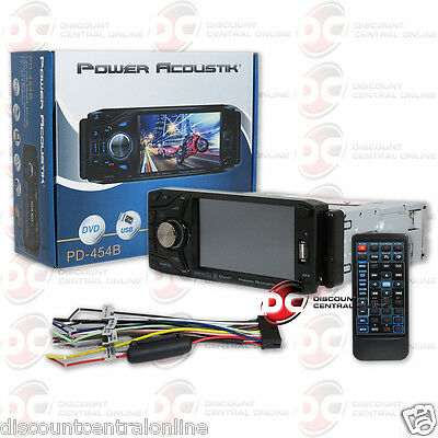 "Power Acoustik Pd-454B 4.5"" Lcd Dvd Bluetooth Stereo W/ Front Usb & Aux Input"