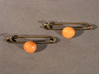 Pair of Small Antique Victorian Gold Filled & Coral Beauty Brooches Safety Pins