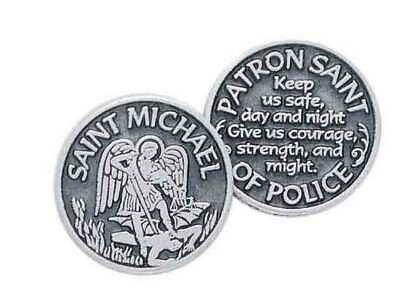 SAINT MICHAEL, PATRON SAINT OF POLICE, Pocket Token With Message, 31mm Diameter,