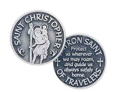ST CHRISTOPHER, PATRON SAINT OF TRAVELERS, Pocket Token / Message, 31mm Diameter