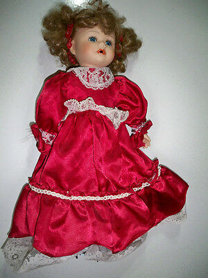 Porcelain Doll in Long Red Dress with Stand