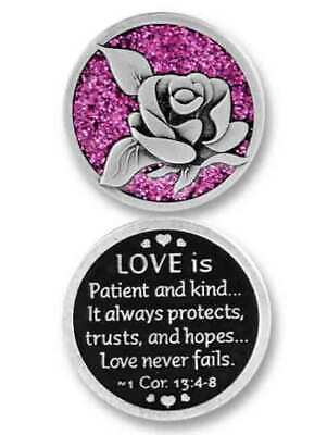 COMPANION COIN, LOVE IS..., Pocket Token w Message or Prayer 31mm Metal