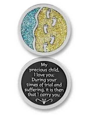 COMPANION COIN, FOOTPRINTS, With Message, Prayer or Reading, 34mm Diameter, Meta