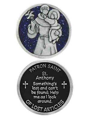 COMPANION COIN, SAINT ANTHONY, Pocket Token w Message or Prayer 31mm Metal