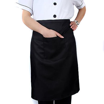 6pc (Half a dozen) NEW BLACK WAITRESS WAITER WAIST HALF BIB APRON