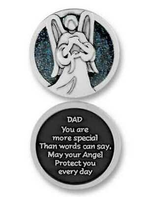 COMPANION COIN, DAD ANGEL, With Message, Prayer or Reading, 34mm Diameter, Metal