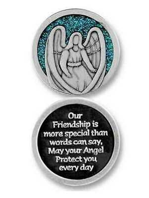 COMPANION COIN, FRIENDSHIP ANGEL, With Message, Prayer or Reading, 34mm Diameter