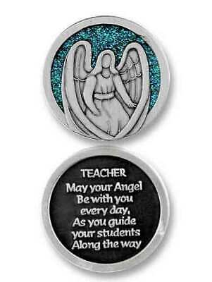 COMPANION COIN, TEACHER ANGEL, With Message, Prayer or Reading, 34mm Diameter, M