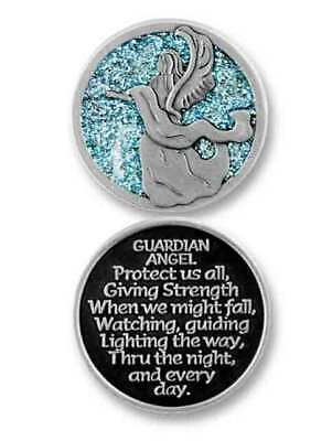 COMPANION COIN, GUARDIAN ANGEL, With Message, Prayer or Reading, 34mm Diameter,