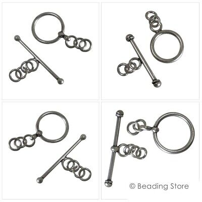 1 or 10 x 925 Sterling Silver 13mm Round Toggle Clasp Bali T Bar Clasps Findings
