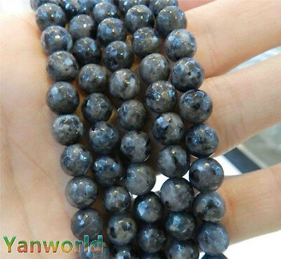 Natural 8mm Faceted India Black Gray Labradorite Gems Round Loose Beads 15""