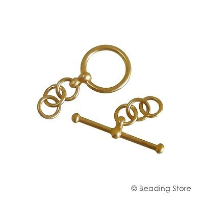 1 or 10 24ct Gold Plated Sterling Silver 12mm Toggle Clasp T Bar Clasps Vermeil