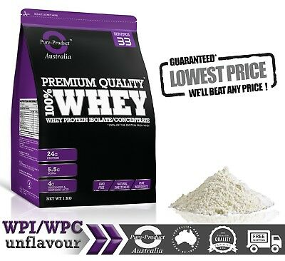 1Kg WHEY PROTEIN CONCENTRATE  WPC NATURAL UNFLAVOURED POWDER  100% PURE