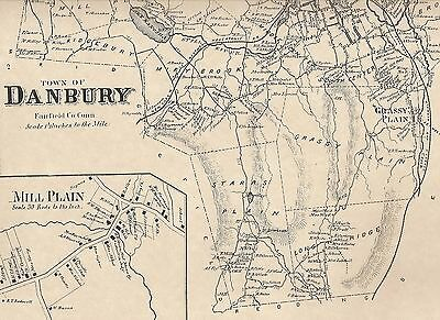 Danbury CT 1867  Map with Homeowners Names Shown