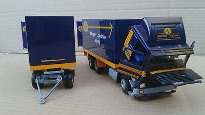 Tekno 1.50 scale diecast asg transport-spedition truck and drawbar trailer