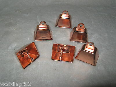 Copper Colored Bells (6) Dog Cat Pet Western Fishing Railroad Crafts Hunting