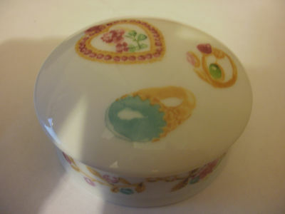 Small PorcelainTrinket Dish With Lid Pictures of Gem Stones On White Back Ground