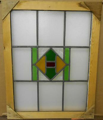 "MID SIZED OLD ENGLISH LEADED STAINED GLASS WINDOW Simple Geometric 18"" x 23.5"""