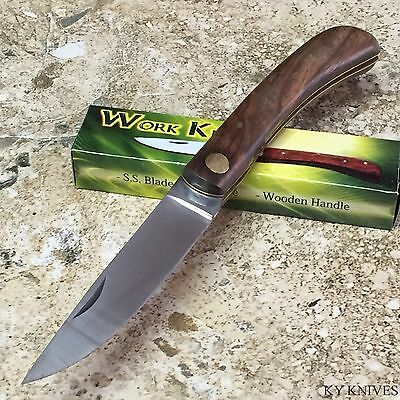 "8"" Sodbuster Work Folding Knife Wood Handle NEW  203115 zix1"