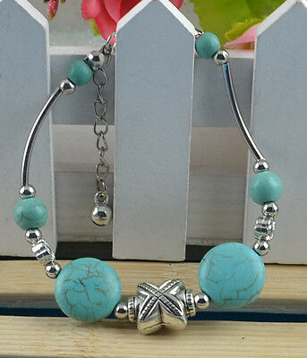 New Classical Natural hot Turquoise cute tibet silver Bracelet H-716