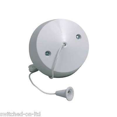 WHITE CEILING PULL LIGHT SWITCH BATHROOM / BEDROOM 6amp 1 way Free Postage