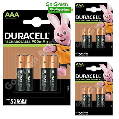 12 x Duracell AAA 900 mAh Rechargeable Batteries (Was 850) NiMH LR03 HR03 Phone
