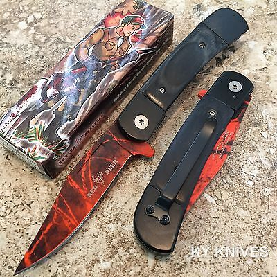 """8"""" RED DEER Classic Red Camo Blade Spring Assisted Open Pocket Knife RDX110-RCA"""