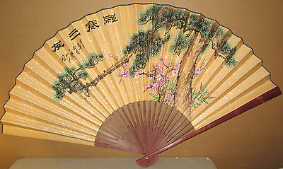 Decorative XL- ASIAN FAN-Hand Painted Floral Design-Bamboo & Paper -Home Decor