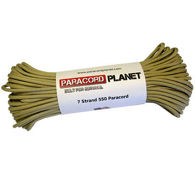 Tan 100' 550 Paracord Mil Spec Type III 7 Strand Parachute Cord 100 ft